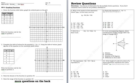 Graphs And Tables Worksheets by Linear Tables And Graphs Worksheets
