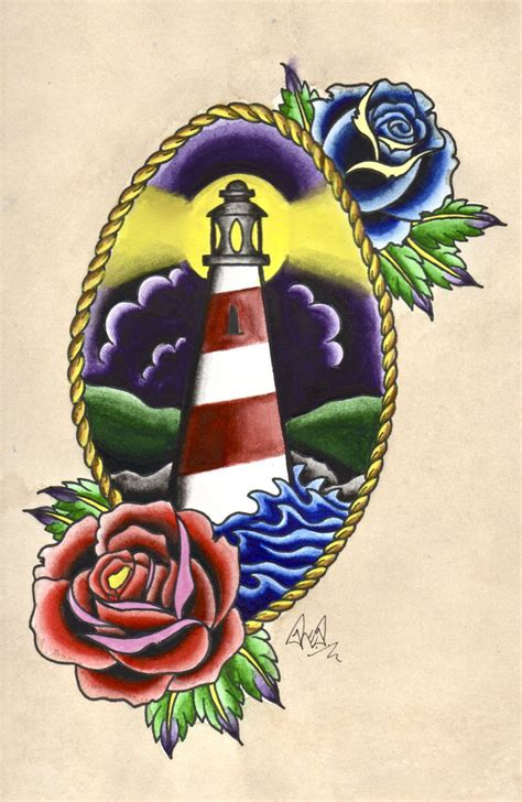 traditional watercolour lighthouse tattoo by rp4rk3r on