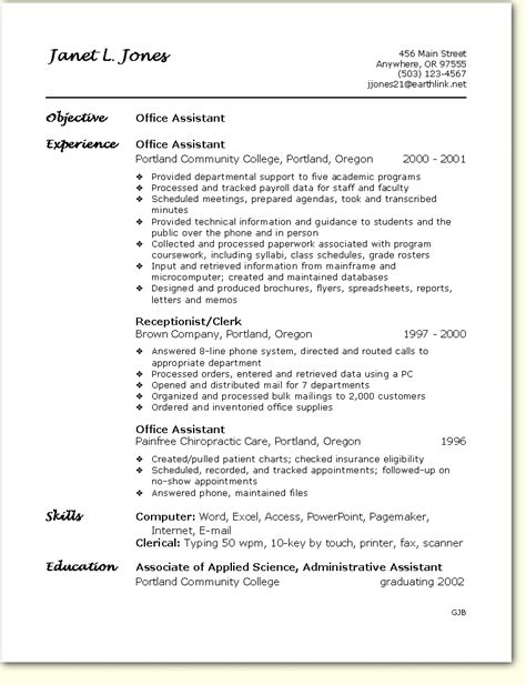 Resume Template Office by Sle Resume Office Assistant Free Sles Exles
