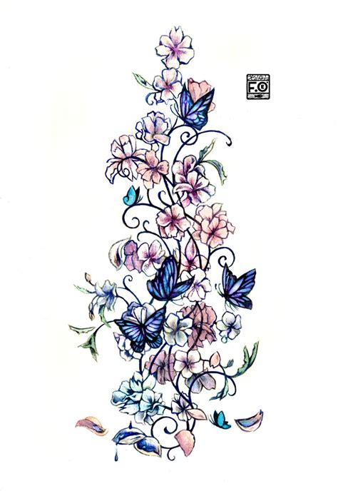 design flower and butterfly commission sweet flower tattoo by asfahani on deviantart