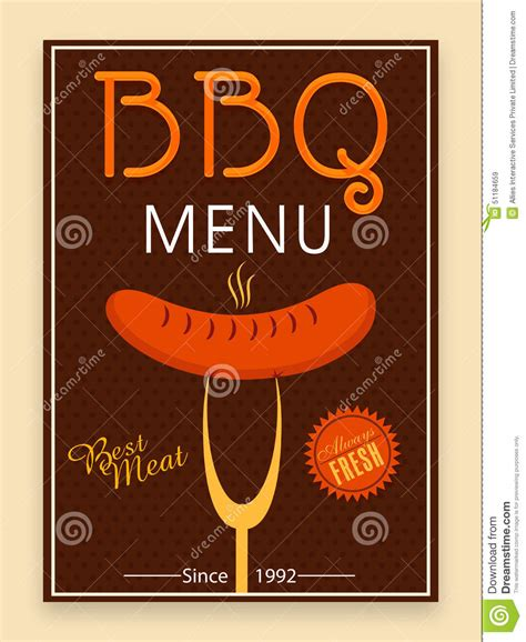 bbq template card bbq menu card template or flyer design stock photo