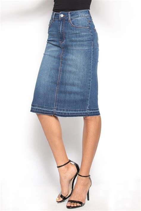 themogan s edge high waisted washed denim skirt