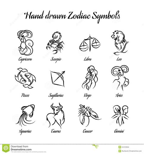 hand drawn astrological zodiac symbols or stock vector