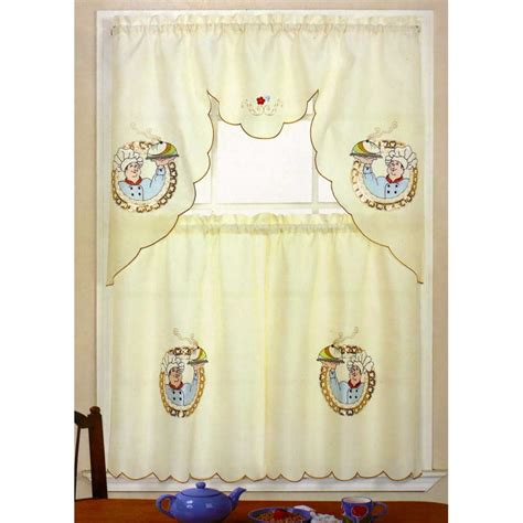 Chef Kitchen Curtains Chef Kitchen Curtains Italian Chef Window Curtain Set Kitchen Swag 24 Quot Tiers Ebay Chefs