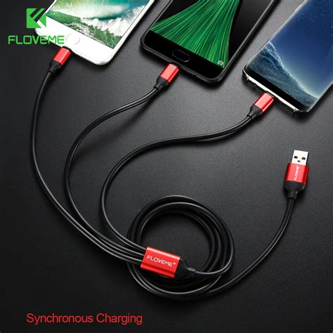 floveme usb cable for iphone xs max x 7 6 6s type c micro charger cable 3 in 1 for samsung s9 s8