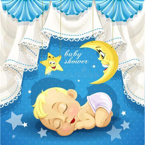doccia neonato carta della doccia di bambino con il sonno dolce