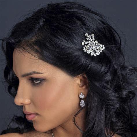 Flower Hair Cl rhodium clear flower rhinestone hair comb 1364