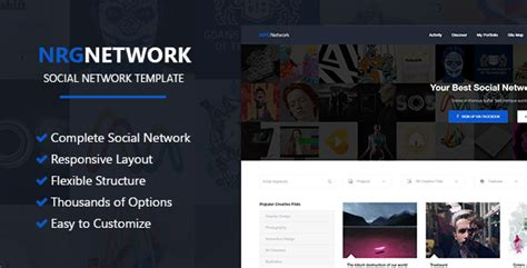 social network layout psd nrgnetwork responsive social network template by
