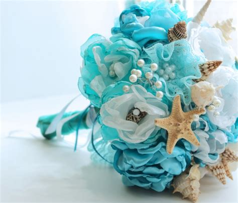 Blue And White Decorating Ideas 20 beach wedding bouquet ideas seashells and flowers