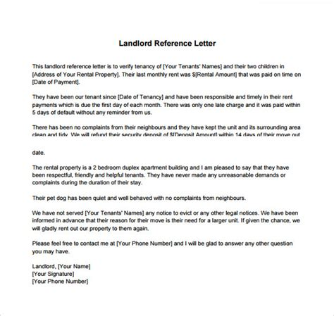 Reference Letter Template From Employer To Landlord Landlord Reference Letter Template 8 Free Documents In Pdf Word