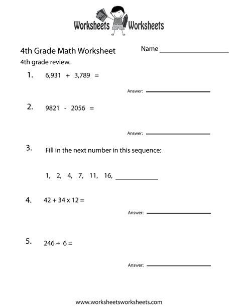 Printable Math Worksheets For 4th Grade | free printable 4th grade math review worksheet