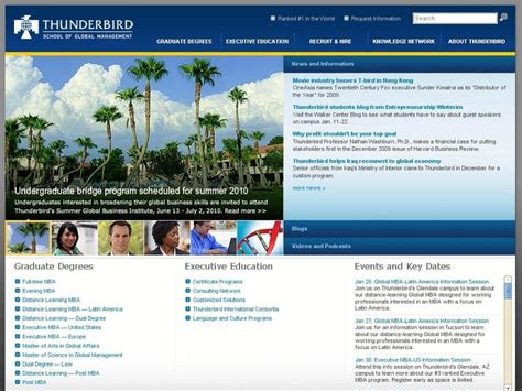 Thunderbird Mba Ranking by Thunderbird School Of Global Management Garvin School Of