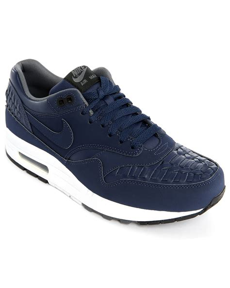blue and sneakers nike air max 1 navy woven sneakers in blue for lyst