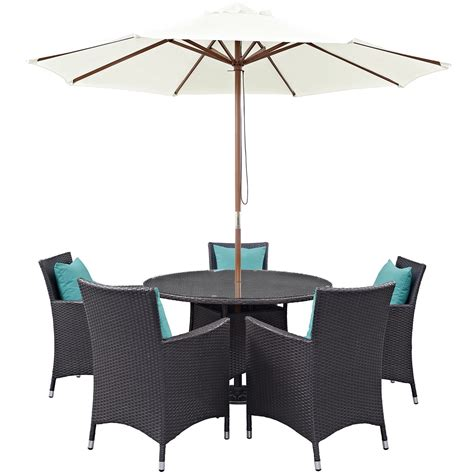 7pc patio dining set convene modern 7pc outdoor patio rattan 47 quot dining