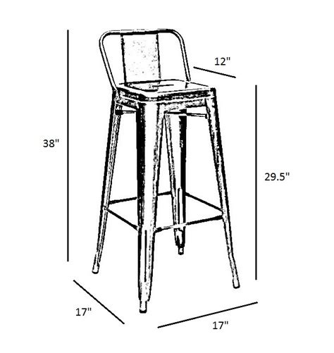 bar stool dimensions standard clear gun metal tolix style low back bar stool