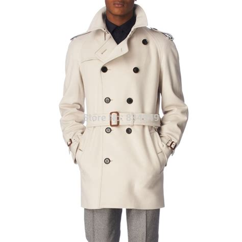 Handmade Coats - custom made ivory white trench coat breasted