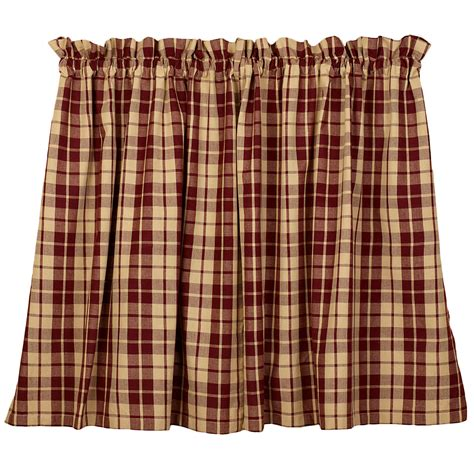 Red Curtain Valance Primitive Farmhouse Star Lined Country Curtain Tiers