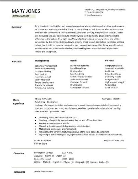 resume templates for retail retail manager cv template resume exles description