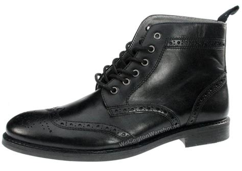 black lace up mens boots glaven brogue lace up leather mens boots