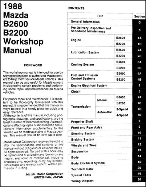 service manual service manuals schematics 1991 mazda b series engine control service manual 1988 mazda pickup truck repair shop manual original b2200 b2600