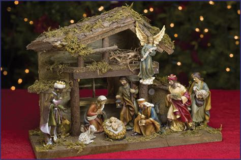 nativity sets with stable 4 5 quot 11pc resin nativity set with stable