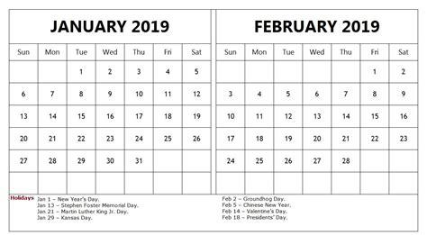 january february  calendar  holidays templateprintable monthlycalendartemplate