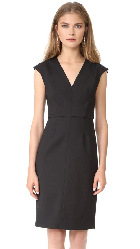 lyst diane furstenberg cap sleeve v neck dress in black