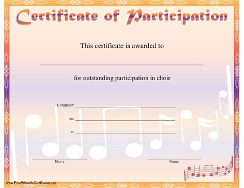 Choir Certificate Template by Choirs Notes And Printable Certificates On