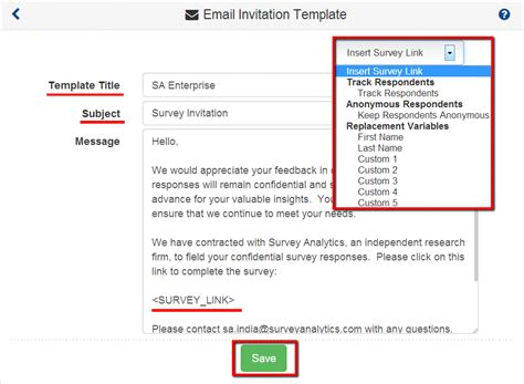 Surveyanalytics Features Survey Email Template