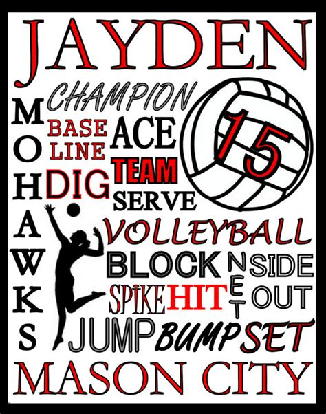 printable high school volleyball rules 5 only volleyball gift volleyball print custom volleyball