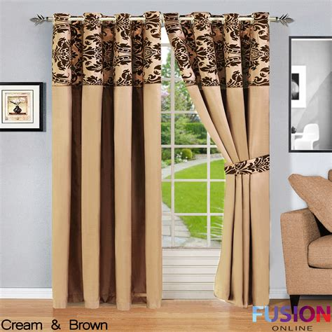cream and chocolate curtains ring top fully lined pair eyelet ready curtains luxury