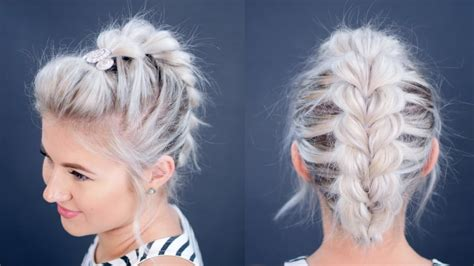 plait hairstyles for short hair how to pull through braid short hair milabu