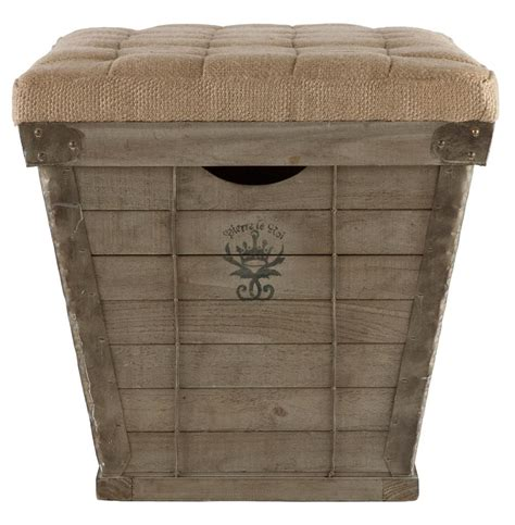 french country ottoman french country black lettering long storage crate burlap