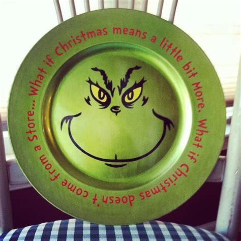 charger plate craft ideas vinyled grinch charger plate crafts plates pottery