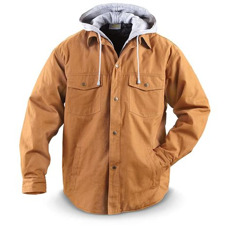 Shirts And Jackets Utility Pro Wear Hooded Shirt Jacket Brown 236585