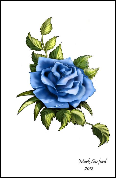 tattoos of blue roses blue design by multiimage on deviantart