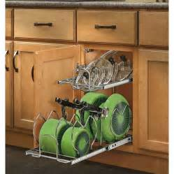 Lowes Kitchen Cabinet Organizers Shop Rev A Shelf 11 75 In W X 18 13 In H Metal 2 Tier Cabinet Cookware Organizer At Lowes