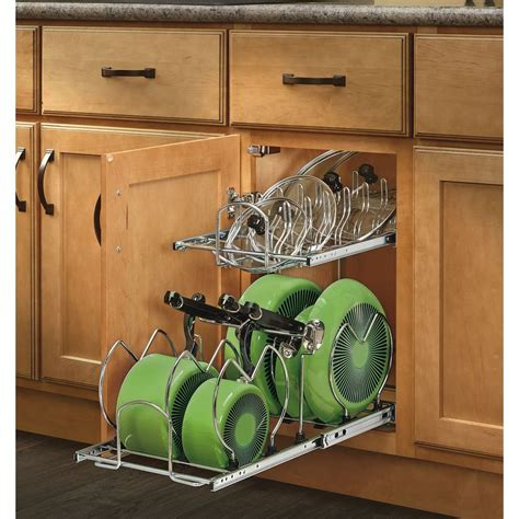 Rev A Shelf 2 Tier Cookware Organizer by Shop Rev A Shelf 11 75 In W X 18 13 In H Metal 2 Tier