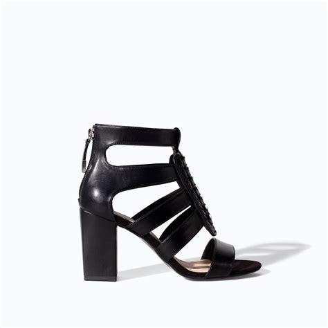 black strappy sandals high heel zara high heel strappy sandal with metal pins in black lyst