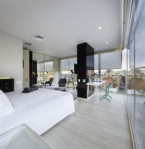 vinyl in bedroom modern open bedroom apartment design with large glass