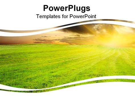 powerpoint themes agriculture yellow amazing sunset in the green field powerpoint