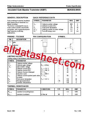 transistor igbt datasheet buk856 800a datasheet pdf nxp semiconductors