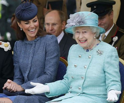duchess of cambridge the queen and kate middleton pictured laughing together as