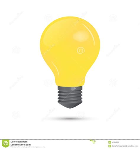 yellow lightbulb on a white background stock vector
