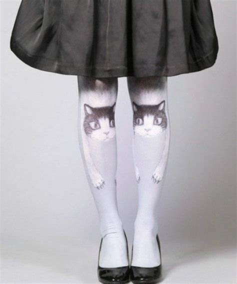 tattoo cat tights vintage retro blue kitty cat tattoo print pantyhose over