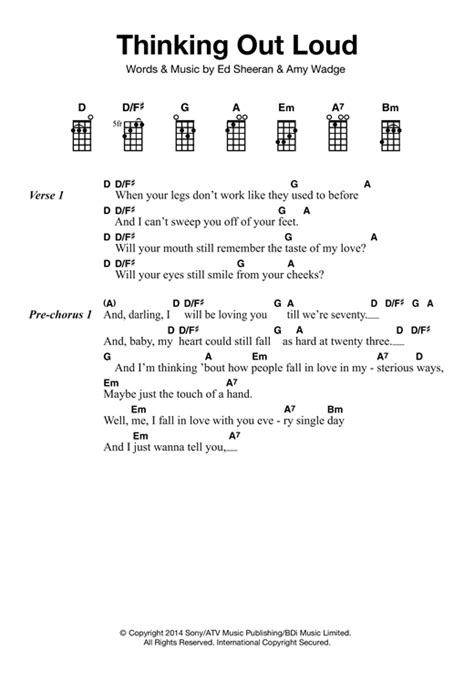 ukulele tutorial ed sheeran thinking out loud sheet music by ed sheeran ukulele 121871