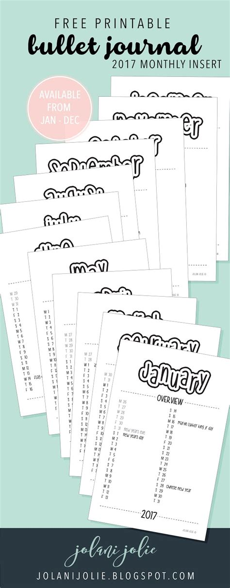 printable bullet journal pages free printable bullet journal 2017 monthly insert