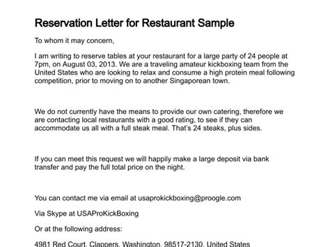 Reservation Confirmation Letter Sle Letter Of Reservation
