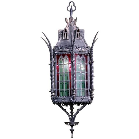 Glass Lantern Chandelier Wrought Iron Lantern Chandelier With Stained Glass At 1stdibs