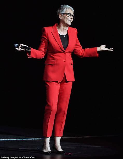 jamie lee curtis red suit jamie lee curtis introduces new halloween at cinemacon